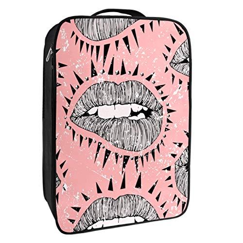 Caja de almacenamiento para zapatos de viaje y uso diario Vector Punk Lips Zapatero organizador portátil impermeable hasta 12 yardas con doble cremallera y 4 bolsillos