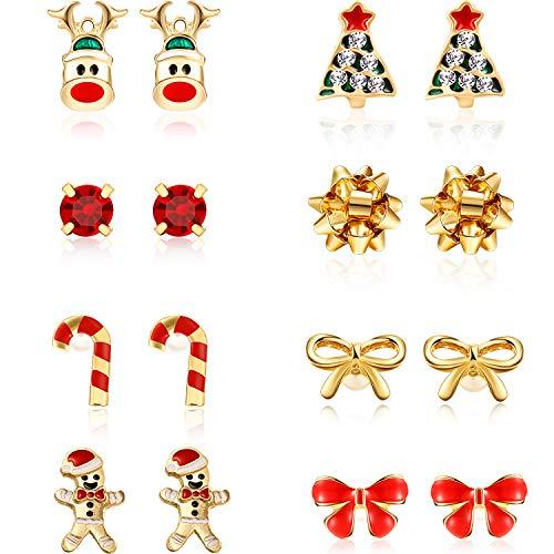 8 Pairs Christmas Charm Stud Earrings Set, Holiday Earrings Christmas Earring for Women Girls