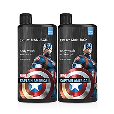 Every Man Jack Body Wash - Marvel Captain America | 16.9-ounce Twin Pack - 2 Bottles Included | Naturally Derived, Parabens-free, Pthalate-free, Dye-free, and Certified Cruelty Free