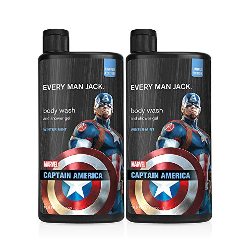 Every Man Jack Body Wash - Marvel Captain America   16.9-ounce Twin Pack - 2 Bottles Included   Naturally Derived, Parabens-free, Pthalate-free, Dye-free, and Certified Cruelty Free