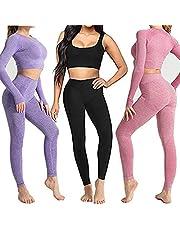 DONYKARRY 3 st kvinnor sömlösa sportkläder set, långärmad barbyxor yoga träning sportkläder gym crop passar topp med tumhål fitness