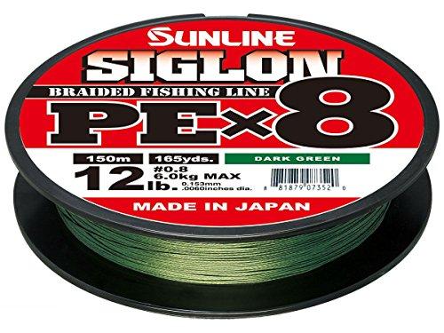 Sunline Siglon PEx8 Dunkelgrün geflochtene Angelschnur 165 Meter, Unisex-Erwachsene, 63053448, dunkelgrün, Einheitsgröße