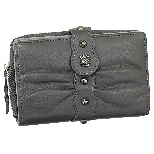 Luxus Leder Damen Geldbörse Portemonnaie mit Eulen Relief aus Metall Geldbeutel mit Reißverschluss 15,5 cm 58926 Farbe grau