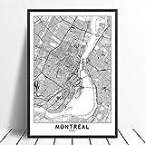 XQWZM Weltstadtplakat Poster Drucke, Montreal Schwarz Weiß