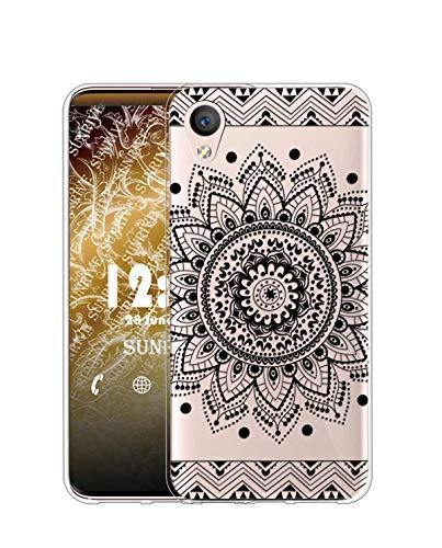 Sunrive Kompatibel mit Alcatel Idol 4/BlackBerry Dtek50 Hülle Silikon, Transparent Handyhülle Schutzhülle Etui Hülle (TPU Blume Schwarze)+Gratis Universal Eingabestift MEHRWEG