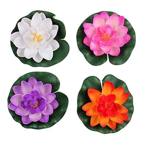JIHUOO 4 Stück Künstliche Lotus Blüte Wasserlilie Seerosen Teichpflanzen Blumen Deko Teich Wasserpflanzen 28CM