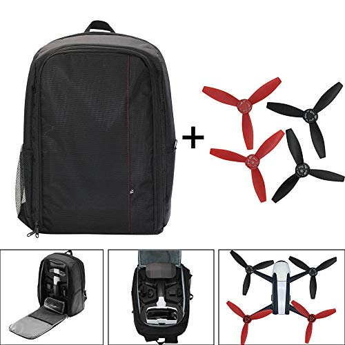 HSKB Drone Rucksack Handtasche, Wasserdichter Rucksack Reisetasche Outdoor Carry on Storage Bag Portable Tasche mit 4PC Propeller für Parrot Bebop 2 Power FPV Drohne (B)