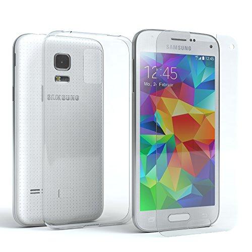 EAZY CASE Silikonhülle und Panzerglas im Set kompatibel mit Samsung Galaxy S5 Mini I Bildschirmschutzglas, Panzerglas nur 0,3 mm 9H Festigkeit, Schutzhülle Ultra dünn, Silikon Hülle, Transparent/Kristallklar