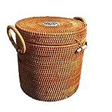 BGROEST-hm Cestas cestas de organización Colección Cesta Exquisita Hogar Rattan Hechos a Mano Misceláneas Cesto de Almacenamiento