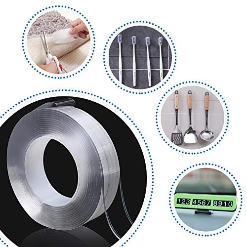 """wall26 16.5 Ft Upgraded Reusable Nano Tape, Heavy-Duty Washable Removable Traceless Clear Transparent Double Sided Adhesive Tape for Kitchen Office 1.2""""x16.5'"""