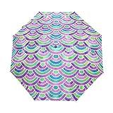 Paraguas compacto de viaje con diseño de sirena para el sol, para el coche, resistente al viento, toldo reforzado, protección UV, mango ergonómico, apertura y cierre automático