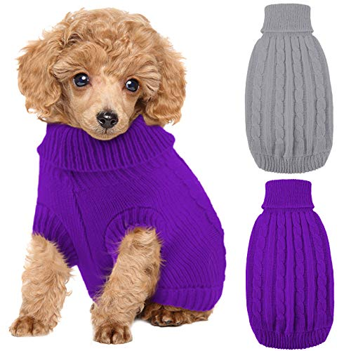 Weewooday 2 Pieces Dog Sweaters Knitted Turtleneck Dog Sweater Classic Cable Knit Winter Coat Pet Cat Sweater Dog Sweatshirt Pullover Puppy Cat Knit Sweater for Small Dogs (Small, Purple, Grey)