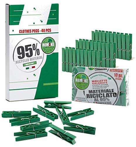 Remake 40 Mollette Bucato Ecologiche Plastica 95% Riciclata. Made in Italy. Misura Grande. Ideali per Appendere Panni Bucato Esterno. Resistenti e Antivento