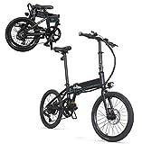 Coolautoparts Bicicleta Eléctrica Plegable Ciclomotor 20 Pulgadas 250W 30km/h Bicicleta de Ciudad/Montaña Aluminio Bateria de Litio 36 V 10,4Ah Display LED para Hombres Mujeres Adultos [EU Stock]