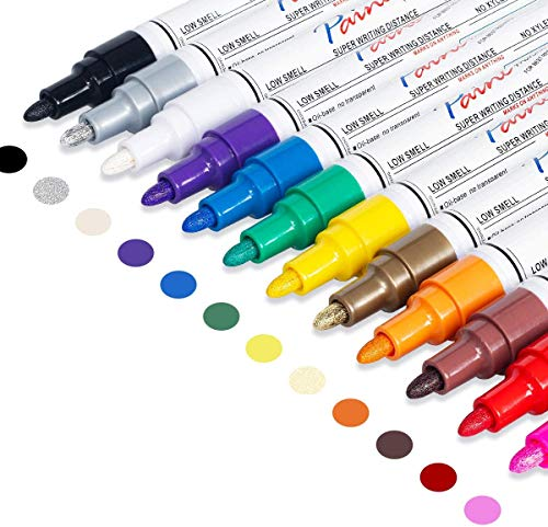 Oil-Based Paint Pen, Permanent Paint Marker: Quick-Dry, Waterproof Paint Set of 12 for Rock Painting, Glass, Fabric, Ceramic, Wood, Metal, Mug, Plastic, Stone. DIY Art Craft Supplies for Adult kid