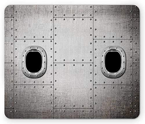 Vintage Airplane Mouse Pad, Flugzeugfenster Nahaufnahme Bild Detaillierte Steampunk-Stil Illustration, Rechteck rutschfeste Gummi Mousepad, schwarz grau - 10,3X 8,3 Inch