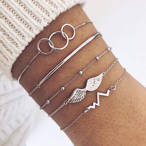 Flrora Conjunto de pulseras de plata con diseño de alas bohemias con capas de cuentas ECG de moda, accesorios de joyería para mujeres y niñas (5 piezas)