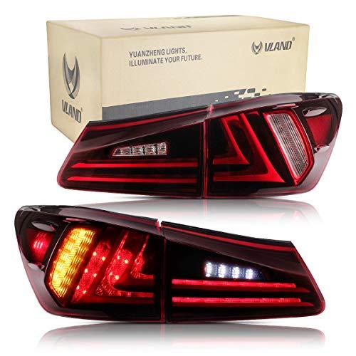 VLAND Rückleuchten für IS220D IS250 IS350 ISF 2006-2012 LED Lightbar Heckleuchten,mit Dynamik Blinker,Mit LED Technik Rücklichter,Rot