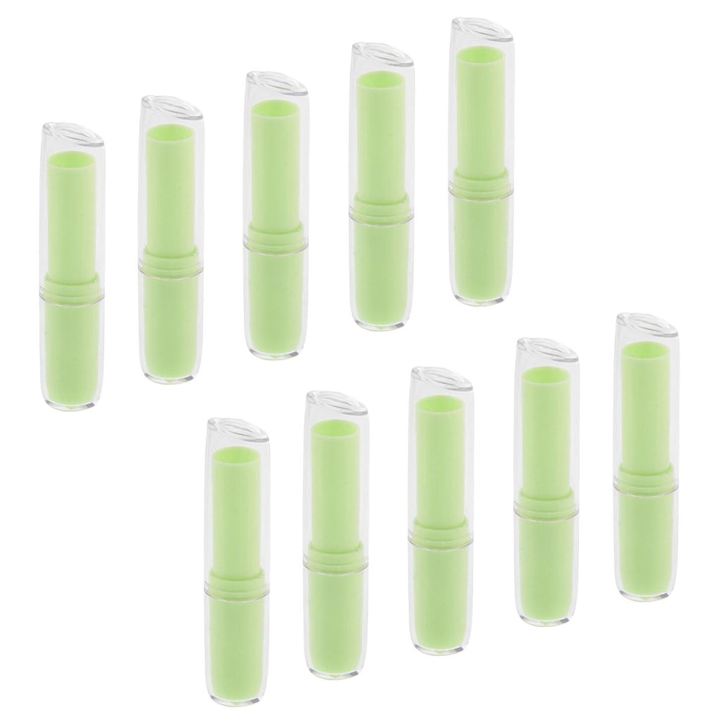 チョーク期限上院議員Kesoto 10個入 リップスティックチューブ 空チューブ 12.1mm 金型 DIY 化粧品 全6色  - 緑