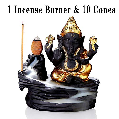 OWMMIZ Ganesha Backflow Incense Burner with 10 PCS Backflow Incense Cones, Waterfall Incense Holders Home Decor Gift Decorations Statue Ornaments