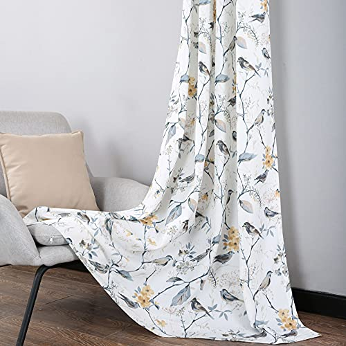 Leeva Grey Print Window Curtains for Living Room, Birds and Branches Farmhouse Garden Style 84 Inch Long Semi-Sheer Curtain and Drapes for Guest Room Bedroom, 2 Panels