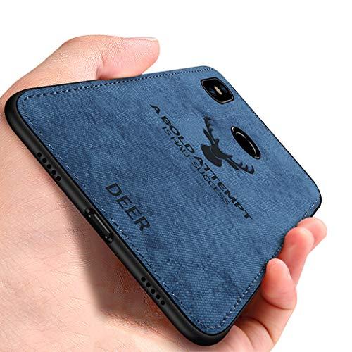 Yoodi Capa para Xiaomi Mi A2 Lite, capa de tecido macia de TPU (poliuretano termoplástico) com absorção de choque [arte de cabeça de veado] capa híbrida antiderrapante e limpa para Xiaomi Mi A2 Lite/Redmi 6 Pro - azul