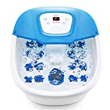 Foot Spa Bath Massager with Heat Bubbles Vibration, Heated Foot Bath Tub with Pedicure Grinding Stone, 16 Massage Rollers, Digital Temperature Control for Stress Relief Home Use