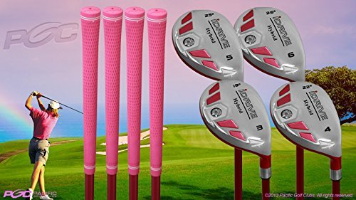 """Senior Ladies iDrive Pink Golf Clubs All Hybrid Set 55+ Years Womens Right Handed Lady Full True Hybrid Complete Set which Includes: #3, 4, 5, 6 New Utility """"Senior"""" Flex Club"""