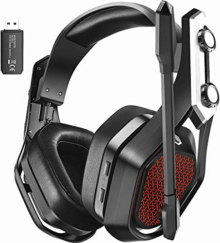 Mpow Cuffie da gioco wireless Iron Pro 2.4G per PC, PS4, Mac, cablate da 3,5 mm per Xbox Cuffie over-ear USB wireless con audio surround, microfono con eliminazione del rumore