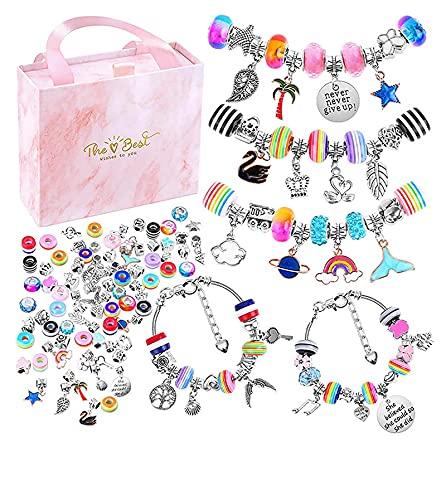 Spasuely Set fai da te per ragazze, braccialetti fai da te, braccialetti dell'amicizia, braccialetto fai da te, regalo creativo per compleanno, per bambine da 6 a 12 anni