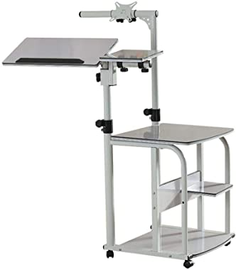 LCD Monitor Support Table, Keyboard and Mouse Host Box Floor Mobile Bracket, Bed Mobile Landing Cart (Color : White)