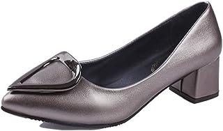 [AJGLJIYER LTD] パンプス レディース シューズ ポインテッドトゥ 太ヒール ヒール5cm スリッポン PUレザー 痛くない 歩きやすい コンフォート お呼ばれ 女子会 パーティー 赤色 黑色 灰色 バックル 金属 日常