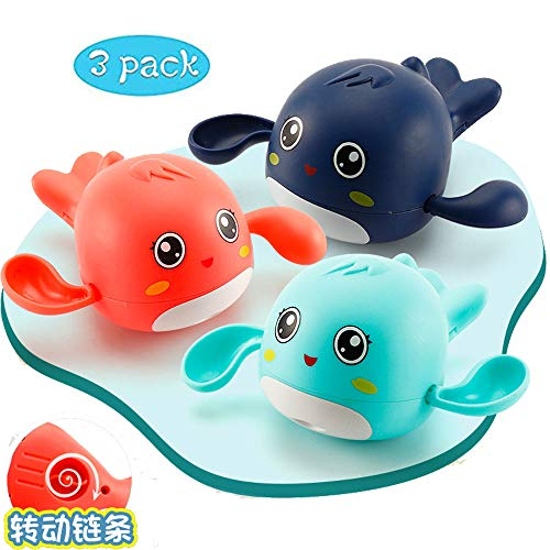 NIWWIN Classic Baby Bath Toys Clockwork Dolphin for Toddlers Boys Girls,Wind up Water Toys Swimming Summer Pool Bathroom Float Toy Best Child Plastic Bathtub Toys