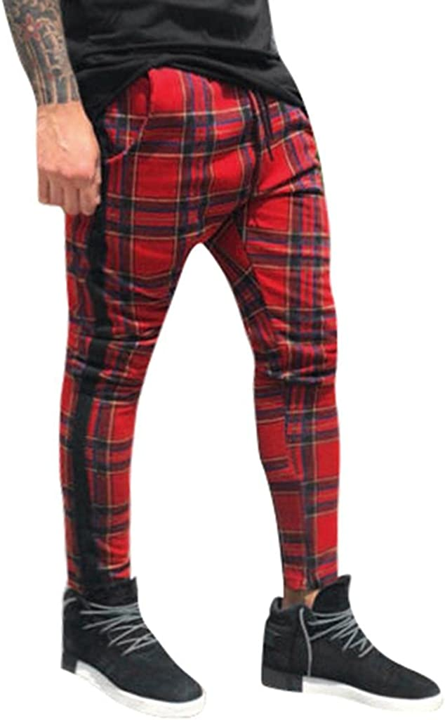 Men's Casual Pants Sport Running Joggers Sweatpants Slim Fit Plaid Trousers Stretch Skinny Pants with Tape Side