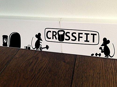 Ratón Crossfit kettebell motivación fitness gimnasio saco de boxeo entrenamiento Minie agujero casa vive kids funny rodapié pared arte adhesivo, diseño de ratón