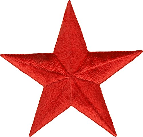 """Square Deal Recordings & Supplies Solid Red Star - 3"""" - Embroidered Iron On or Sew On Patch"""