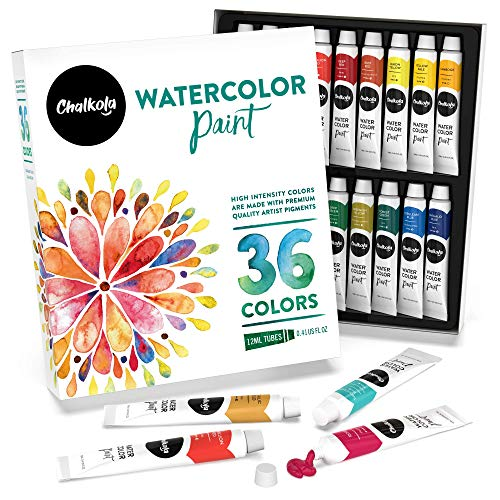 Watercolor Paint Set (36 Colors, 12 ml tubes, 0.4 oz.) | Rich Pigment,Vibrant, Non Toxic Art Supplies for Painters, Kids, Adults, Beginner & Professional Artists