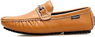 Hombre Zapatillas para Andar Casual Calzado de Planos Transpirables Zapatos Informales Bambas Zapatos de Cuero para Perezoso Náuticos Mocasines