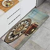 SURERUIM Alfombra de Cocina, Paisaje mágico único y Encantador Gran Reloj Antiguo Pájaros voladores Cuento de Hadas,tapete Decorativo para Piso de Cocina con Respaldo Antideslizante, 47'x17'