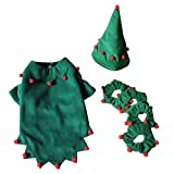S-Lifeeling Christmas Elf Outfit Cat Costumes Holiday Halloween Pet Clothes Soft Comfortable Puppy Dog Clothes