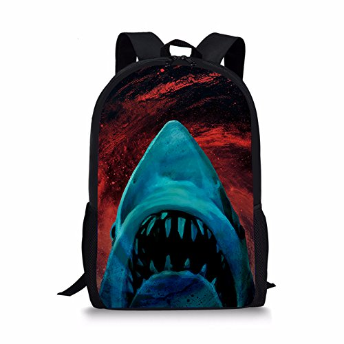 Dzulife Blue Shark Head School Backpack 1st 2nd 3rd 5th 6th Grade for Boys Teen Kids Bookbags Elementary Lightweight Red