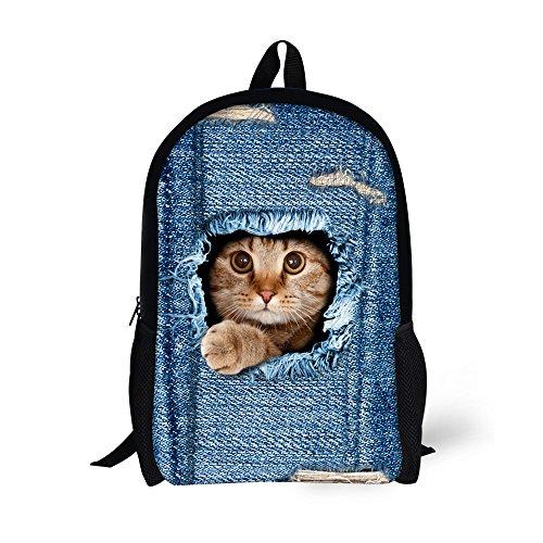 Thikin 30,5 cm/43,2 cm décontracté Sac d'impression de chat en feutre Polyester Noir Double sac Bookbags, décontracté zippé, à l'école Sacs à dos –-pour les étudiants, à l'école, Voyage, Week-end ou de voyage, randonnée disponibles de 2 Taille, cat4, 30 cm