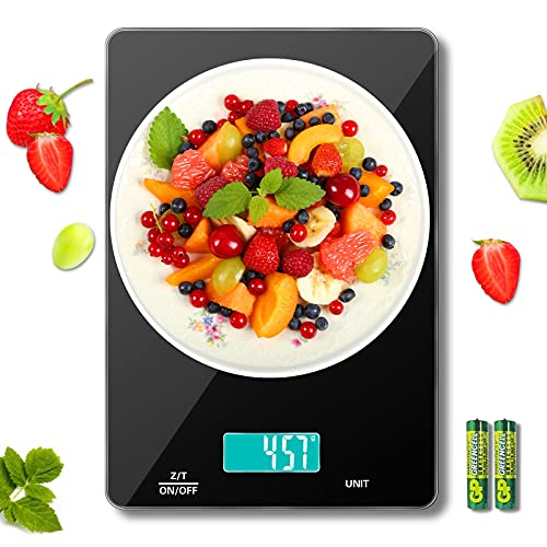 MomMed Bascula de Cocina, 15kg Peso Cocina Digital, Báscula de Cocina con conversión de 6 unidades, pantalla LCD, plataforma de vidrio de fácil limpieza, 2 baterías AAA incluidas