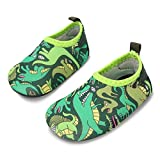 JIASUQI Baby Boys Athletic Sneakers Barefoot Water Shoes for Beach Swim Pool,Dino Green 6-12 Months