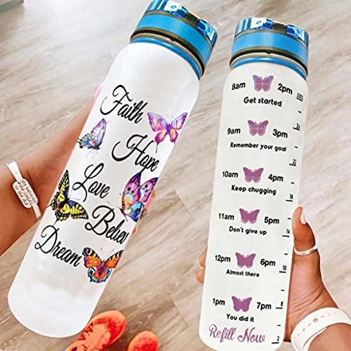 Tobgreatey Borraccia sportiva con marchio del tempo, motivo farfalla colorata e fede, speranza, amore, riutilizzabile, in Tritan, con coperchio Flip Top e cinghia, colore bianco, 1000 ml