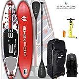 SKINFOX Seahorse aufblasbares 4-lagiges SUP Paddelboard Stand Up NEUESTE SUP Generation 4 TECH L-CORE (335x78x15/Tragkraft 175 kg) ALU-Set rot (Board,Bag,Pumpe,ALU SUP-/Kayak Paddel)
