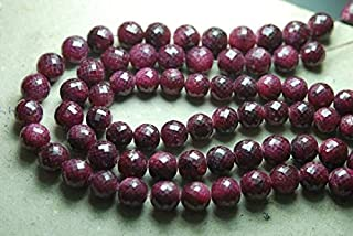 Jewel Beads Natural Beautiful jewellery 4 Inch Full Strand, Natural Dyed Ruby Faceted Round Balls Beads,11-12mmCode:- JBB-31070
