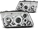 Faros compatibles con Volkswagen Bora 1998 1999 2000 2001 2002 2003 2004 2005 GV-1608 faros delanteros Angel Eyes cromo