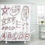 Setyserytu Duschvorhänge, Fabric Shower Curtain Curtains Red Homework Score Full Marks Grade Star...