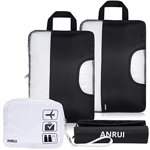 ANRUI Compression Packing Cubes, Travel Luggage Organiser Set with Laundry Bag and TSA Approved Travel Clear Toiletry Bag, Extensible Organizer Bags for Travel Suitcase Organization, Black, Set of 4